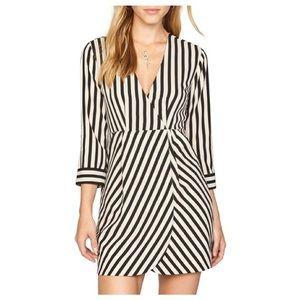 3/4 sleeve striped faux wrap dress